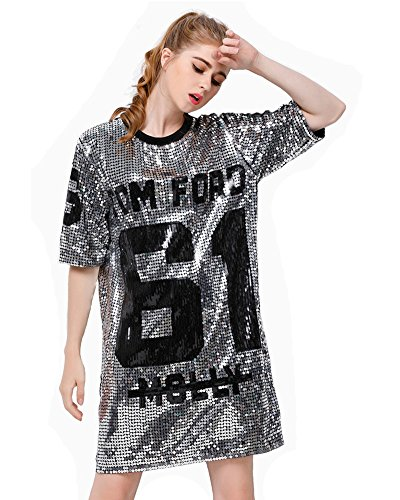 P&R Sparkle Glitter Sequins Hip Hop Jazz Dancing T-Shirt Dress Plus Size Clubwear,Silver
