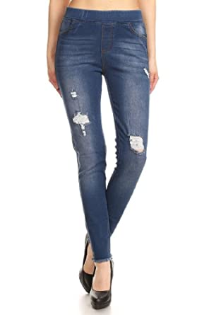 b6448b406e4 Jvini Women s Pull-On Ripped Destroyed Stretch Skinny Denim Jeggings with  Pockets (Small
