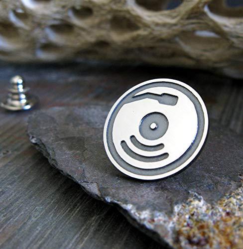 Album Tie - Record album tie tack lapel hat brooch pin artisan handmade in sterling silver