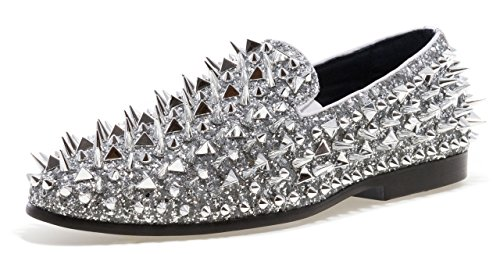 JUMP NEWYORK Men's LORD Round Toe, Textile and Leather Metallic Spike Slip-On Smoking Slipper Dress Loafer Silver
