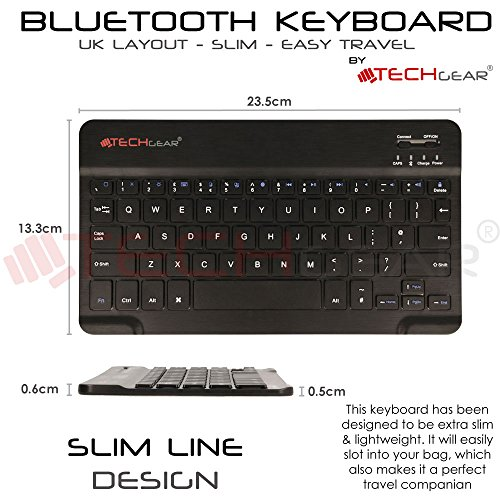 60e912ee7fa TECHGEAR [Active Strike (M) Slim Line Bluetooth Wireless UK Keyboard With  Keyboard Carry Case Cover for Tesco Hudl 2 (8.3