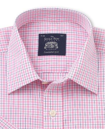"Savile Row Mens Pink White Check Poplin Windsor Collar Classic Fit Short Sleeve Shirt Size 16"""