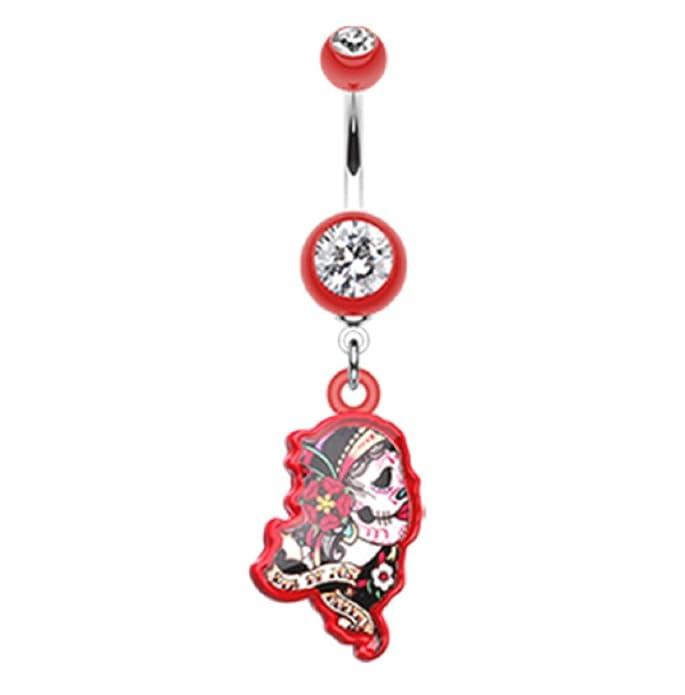 Sold Individually 316L Surgical Steel Rose Sugar Skull Navel Ring 14GA Pink L:3//8
