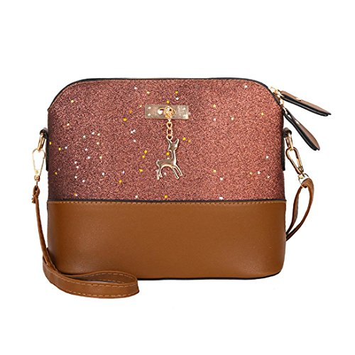 YJYDADA Womens Leather Crossbody Bag Sequins Small Deer Shoulder Bags Messenger Bag (Brown) from YJYDADA