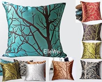 Amazoncom ElleWeiDeco Modern Cyan Blue Throw Pillow Cover Home