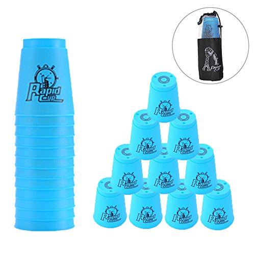 (Quick Stacks Cups 12 Pack of Sports Stacking Cups Speed Training Game Challenge Competition Party Toy with Carry Bag(Blue))