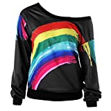 Makeupstore Sweatshirts for Women Full Zip,Women Casual Long Sleeve Rainbow Print Pullover Blouse Shirts Sweatshirt BK/XXL, Coats, Jackets & Vests,Black,XXL