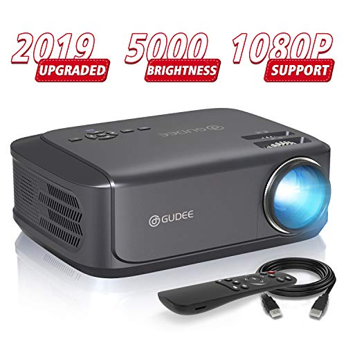 Video Projectors (Upgrade), GuDee Full HD Movie Projector for Home Theater, 5000L Overhead Projector for Business PowerPoint Presentations, Compatible with Laptop, Smartphone, HDMI, USB