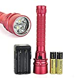 Superior Popular 100m 3x LED 6000Lm Diving Flashlight Underwater Magnetic Push Scuba Torch Color Red with Battery Charger