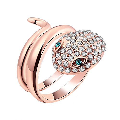 Naivo 18K Rose Gold Plated Pave Snake Wrap Around Ring with Emerald Cz Eyes