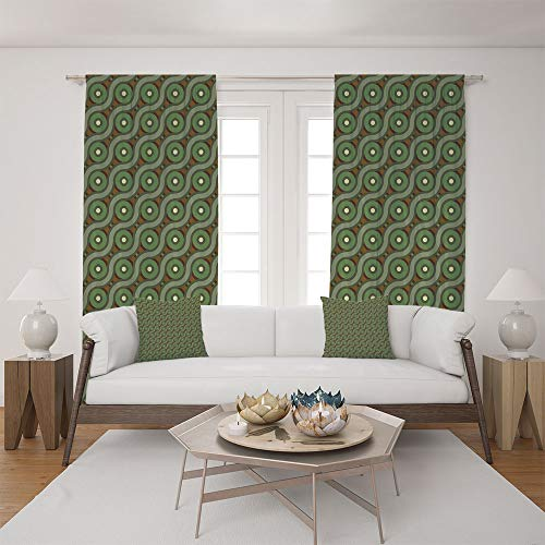 (iPrint 2 Panel Set Satin Window Drapes Living Room Curtains and 2 Pillowcases,Wavy Linked Lines Circles Round Pixel Art,The Perfect Combination of Curtains and Pillows Makes Your Living Room)