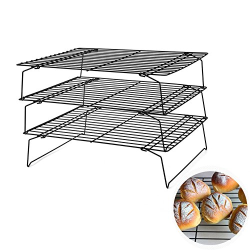 3-Tier Baking Cooling Rack, Non-Stick Bakeware Cookie Bread Cake Cross Grid Elite Cooling Rack, Stackable Foldable Baking Shelf Accessories Set