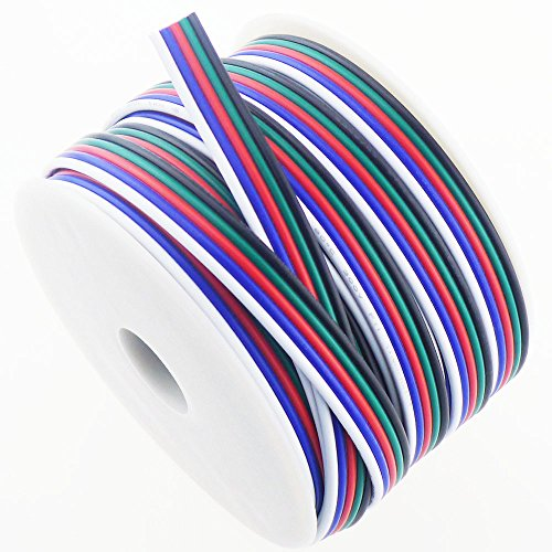 Light Cable Spools (RGBSIGHT 40FT 18 Gauge RGBW LED Strip Extension Cable 18AWG 5pin 5 Color Stand Wire for RGBW RGBWW LED Ribbon Lamp Tape Lighting (40 Feet per Spool))