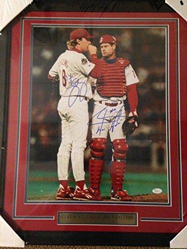 Curt Schilling & Darren Daulton Phillies Nlcs Signed 16x20 Photo Framed- JSA Certified Curt Schilling Phillies