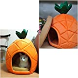 1Pcs Famed Popular Pet Bed Size M Warm Portable Couch Kennel Furniture Dogs House Style Pineapple