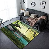 Vanfan Design Home Decorative 90136033 Fantasy Landscape with hammock and small lake Modern Non-Slip Doormats Carpet for Living Dining Room Bedroom Hallway Office Easy Clean Footcloth