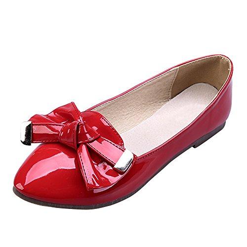OCHENTA Mujer Boda Zapatos Puntiagudo Moda Mariposa Casual Rojo