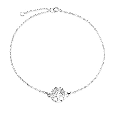 Aeici Jewellery Silver Plated Anklets for Women Tree Of Life Silver Beach Anklet 1.5 X 2.4 CM MnwCm