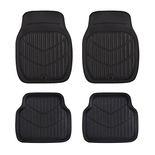 CAR PASS Universal Fit PVC Leather Car Floor Mats, Anti-Slip for Suvs,Vans,Trucks,Pack of 4 (Black and ()