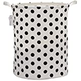 """Sea Team 19.7"""" Large Sized Waterproof Coating Ramie Cotton Fabric Folding Laundry Hamper Bucket Cylindric Burlap Canvas Storage Basket with Stylish Black Polka Dot Design"""