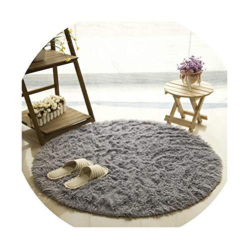 Carpets for Living Room Decor Carpet Long Plush Rugs for Bedroom Shaggy Area Rug Modern Mat,Gray,Diameter - City Tiles Kansas Carpet