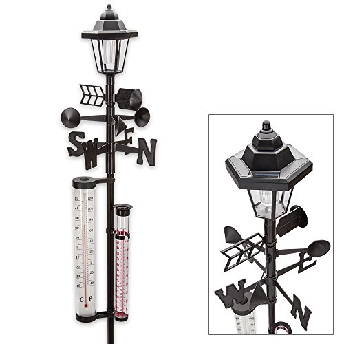 Light Solar Weather Gauge (60 '' Tall. All-In-One Solar Weather Station with Solar Powered Light - Measures Snow, Rain, and Wind Speeds)