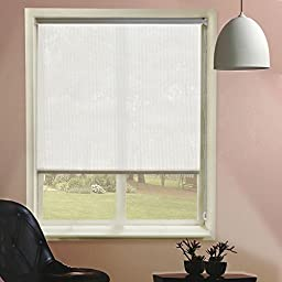 Chicology Roller Shade, Clutch Lift System, Continous Loop, Sheer Fabric, Montana Rice (White), 48\