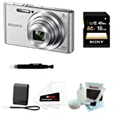 SONY Cyber-shot DSC-W730 Compact Zoom Digital Camera in Silver + 8GB Secure Digital Memory Card + Sony Case in Black + 25 Free Quality Photo Prints