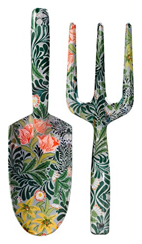 V&A VA022 Sturdy Aluminum Hand Fork and Trowel Garden Set, William Morris Green