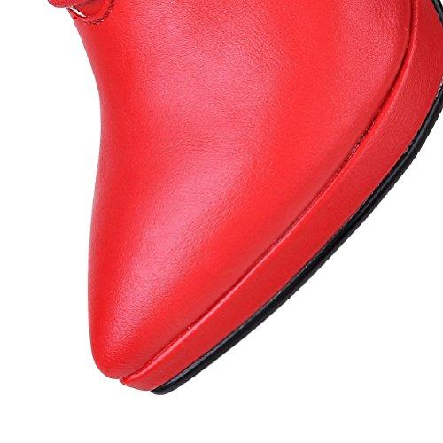 HooH Women's Platform Boots High Heel Lace Up Boots Red UwrZj