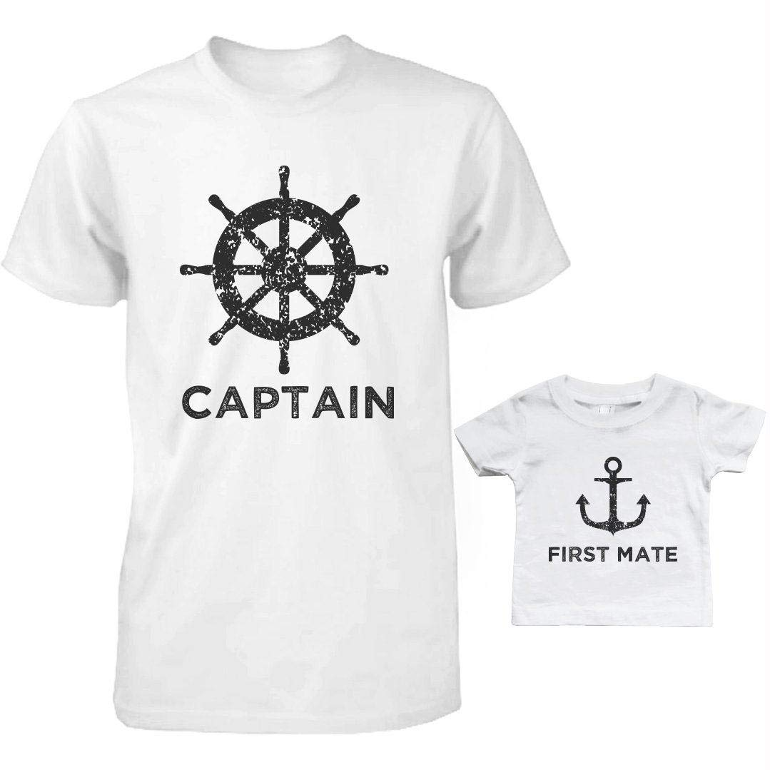 de2074ff3 Captain And First Mate Matching Shirts Father And Son Outfits Father's Day  Gift: Amazon.ca: Sports & Outdoors