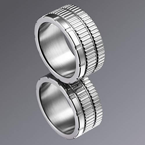 King Will 10.6mm 316 Stainless Steel Wedding Band Ring with Sawtooth Pattern Curved in Base&Inner Surface Matte(10) by King Will (Image #1)