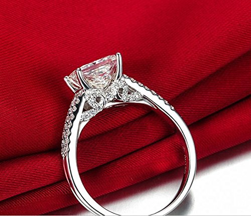 Gowe Coupe Princesse Split Tige véritable 0,75 ct Naturel D-e/Vvs 18 K Or Blanc Diamant Bague de fiançailles