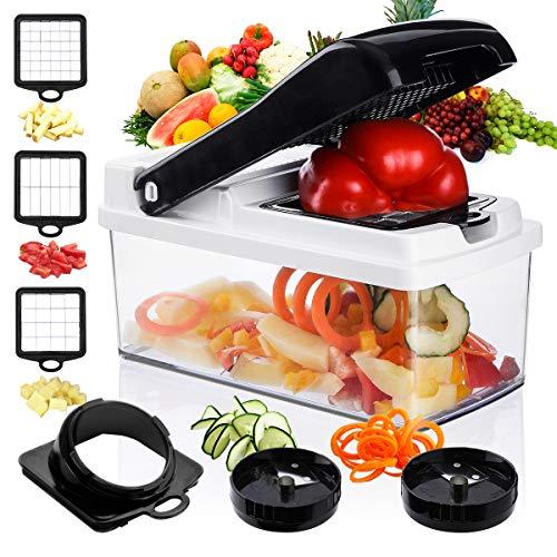 Vegetable Chopper Mandoline Slicer Spiralizer,Godmorn Onion Tomato Potato Food Cutter Dicer Veggie Chopper, Ribbon and Spiral Slicer with Container Holder, 5 in 1 ABS Anti-slip Salad Kitchen Gadget