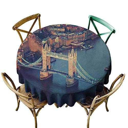 camping tablecloth 39 inch London,London Aerial View with Tower Bridge at Sunset Internatinal Big Old UK British River, Multicolor Dust-Proof Table Cover for Kitchen Dinning Tabletop -