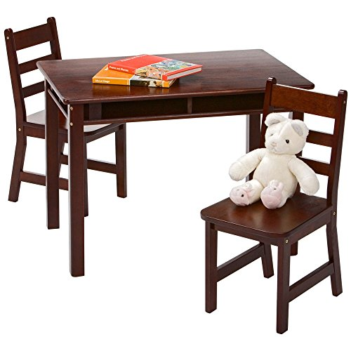 Lipper International Child's Rectangular Table With Shelves And Two Chairs - Espresso (Espresso Play Table compare prices)