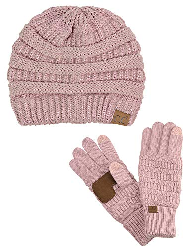 C.C Unisex Soft Stretch Cable Knit Beanie and Anti-Slip Touchscreen Gloves 2 Pc Set, Rose Metallic
