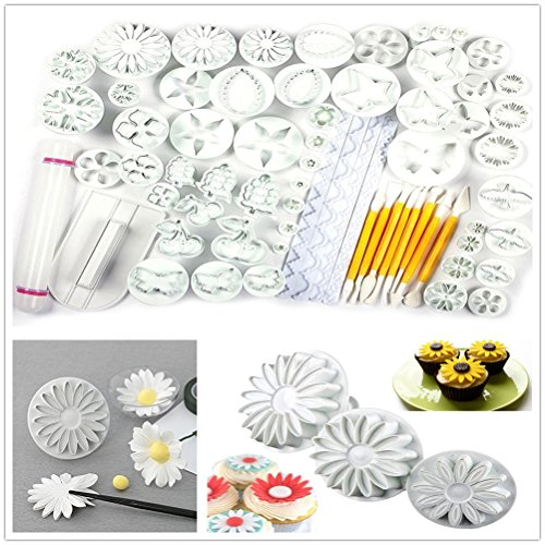 Yakamoz Cake Decration Tool Kit Fondant Cake Cookie Cutter Mold Sugarcraft Icing Decorating Flower Modelling Tools (21 Sets / (Easy Fondant)