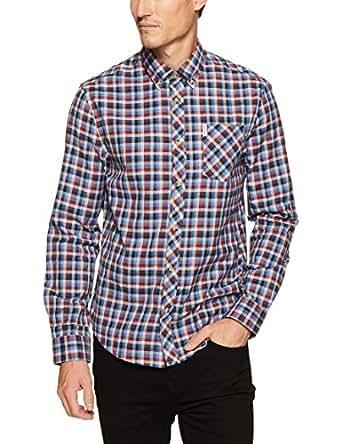 Ben Sherman Men's Long Sleeve Multicoloured Gingham Shirt, Bright Blue, S