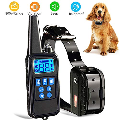 Dog Training Collar with Remote Rainproof Shock Collar 800 Yards Control with Beep Vibration and Harmless Shock No Barking Collar for Small Medium Large Dog -