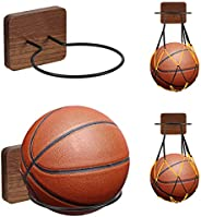 UHIAGREE 2 Pack Sports Ball Holders, Wood & Metal Wall Mount Display Rack with 2 Pack Basketball Net Bags