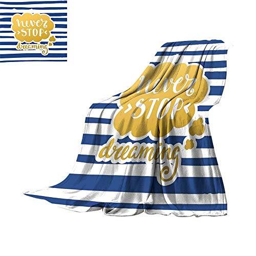 RenteriaDecor Quote,Soft Blankets Marine Themed Inspirational Phrase for Life Navy Vintage Style and Artisan Design Throws for Couch Bed Living Room W70 x L50 -