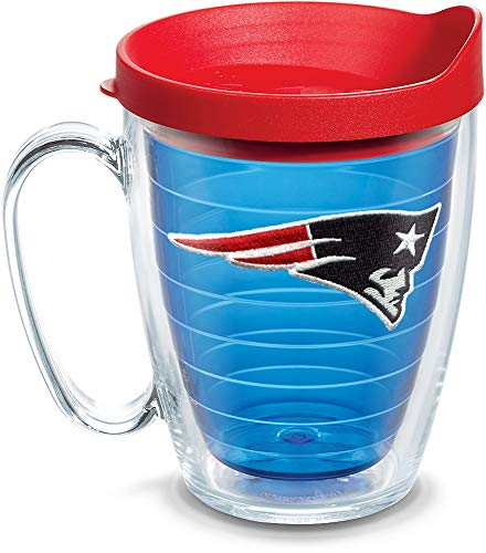 Tervis 1084895 NFL New England Patriots Primary Logo Tumbler with Emblem and Red Lid 16oz Mug, Blue