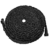POYINRO Expandable Garden Hose, 75ft Strongest Expanding Garden Hose on The Market with Triple Layer Latex Core & Latest Improved Extra Strength Fabric Protection for All Your Watering Needs(Black)