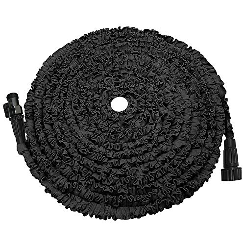 KLAREN Expandable Garden Hose, 75ft Strongest Expanding Garden Hose on The Market with Triple Layer Latex Core & Latest Improved Extra Strength Fabric Protection for All Your Watering Needs(Black)