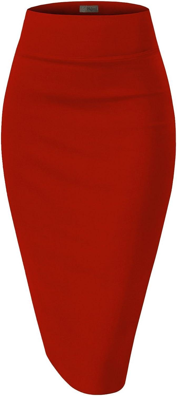 H&C Womens Premium Nylon Ponte Stretch Office Pencil Skirt Made Below Knee