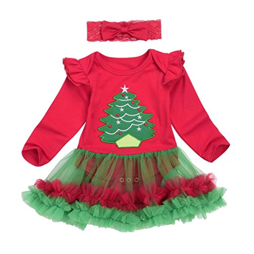 Costume Tutu Red Idea (Winsummer Newborn Baby Girls Christmas Costume Tutu Romper Dress Outfit with Headband (12-18M, Red)