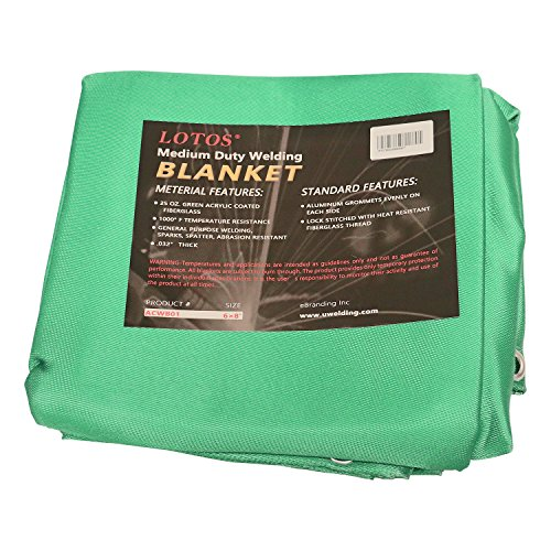 Lotos Technology ACWB01 6' x 8' Acrylic Fiberglass Heat Treated Medium Duty Grommet Green Welding Blanket ()