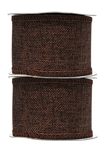 Mandala Crafts Burlap Ribbon, Jute Fabric Strip Spool for Rustic Ornament, Wreath Making, Holiday Decorating, Gift Wrapping (Brown, 2.5 -