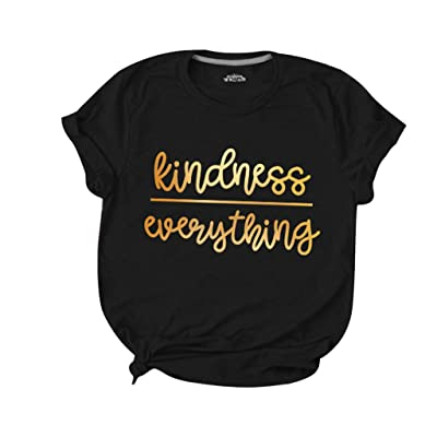 Womens Summer Tops Plus Size, F_Gotal Women Short Sleeve Kindness Everything Letter Printed Tunic T-Shirts Blouse Tops: Clothing